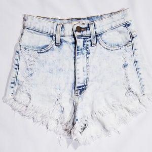 VIBRANT M.I.U High Rise Destroyed Denim Shorts